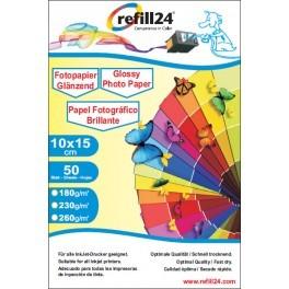 Refill24 Fotopapier Glossy Papier - 10x15 cm (50 Blatt) 260 g
