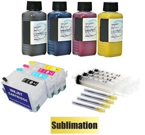 Wiederbefüllbare QUICKFILL-FILL-IN Patronen wie Epson T27 XL + 400 ml Dye-Sublimationstinten