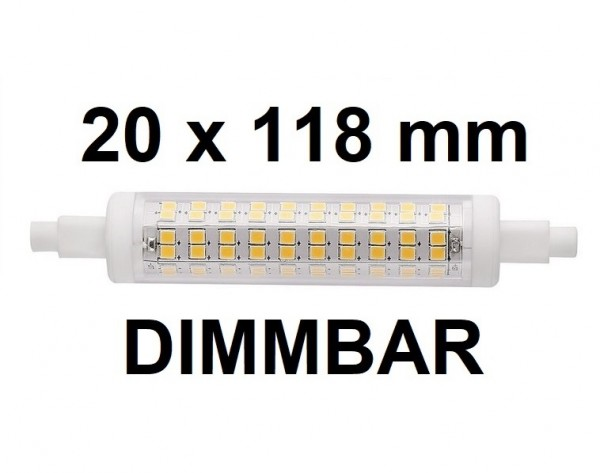 10 Watt R7S LED Lampe 20 x 118 mm, Lichtfarbe warmweiß 2700 K, dimmbar