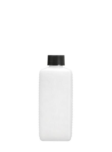 Leere 250 ml HDPE Vierkantflasche inkl. schwarzem Verschluss - 1 Stück