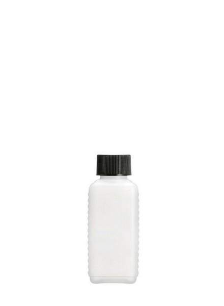 Leere 100 ml HDPE Vierkantflasche inkl. schwarzem Verschluss - 1 Stück