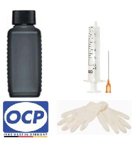Nachfüllset schnelltrocknend für HP 15, 45 - 100 ml OCP Tinte BKP 49 Black + Zubehör