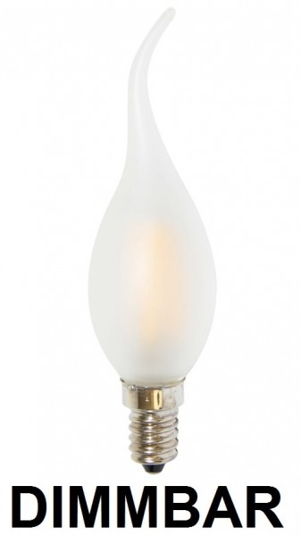2 Watt Faden Filament LED Lampe, Kerze Windstoß, E14, Lichtfarbe warmweiß 2700 K, Milchglas, dimmbar