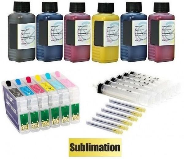 Wiederbefüllbare QUICKFILL-FILL-IN Patronen wie Epson T0791-T0796 + 600 ml Dye-Sublimationstinten