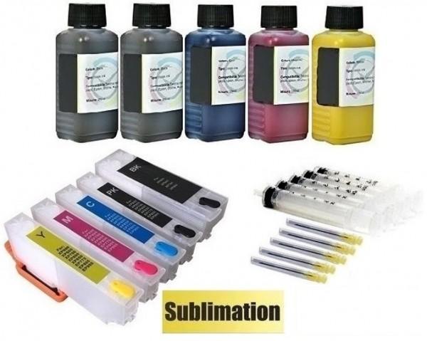 Wiederbefüllbare QUICKFILL-FILL-IN Patronen wie Epson T33 XL + 500 ml Dye-Sublimationstinte