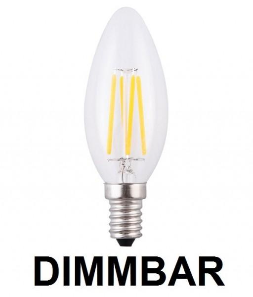 4 Watt Faden Filament LED Lampe, Kerze, E14, Lichtfarbe warmweiß 2700 K, Klarglas, dimmbar