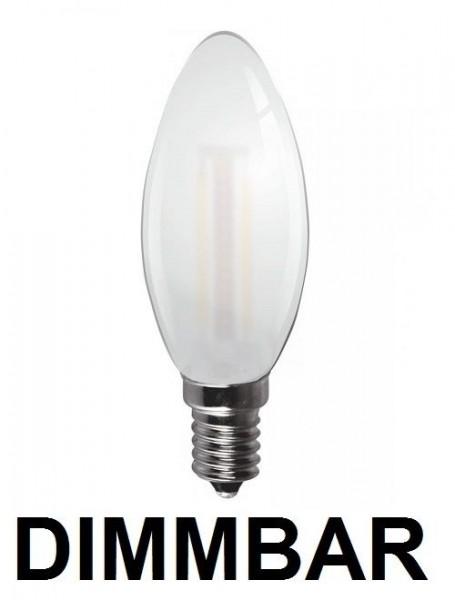 4 Watt Faden Filament LED Lampe, Kerze, E14, Lichtfarbe warmweiß 2700 K, Milchglas, dimmbar